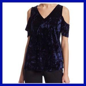 Tops - Scripted elegant Blue Velvet cold shoulder top